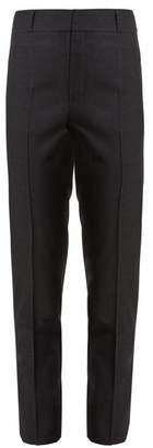 Saint Laurent High Rise Slim Leg Wool Cropped Trousers - Womens - Dark Grey