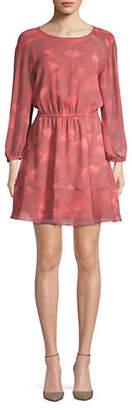 Halston H Petal Print Raglan Sleeve Fit Flare Dress