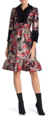 Anna Sui Velvet Trim Floral Print Ruffle Dress