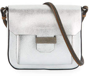 Brunello Cucinelli Metallic Leather Mini Crossbody Bag