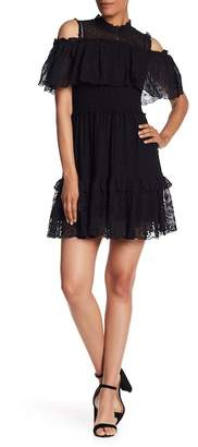 Rebecca Taylor Eyelet Flounce Short Casual Silk Dress
