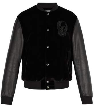Alexander McQueen Velvet And Leather Bomber Jacket - Mens - Black
