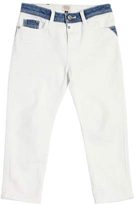 Armani Junior Stretch Denim Jeans With Washed Details