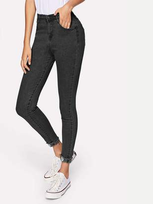 Shein Stitch Detail Cuffed Hem Jeggings