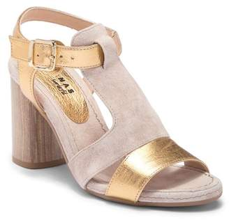 Manas Design Metallic and Suede Block Heel Sandal