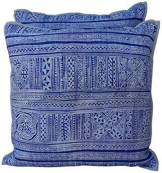 One Kings Lane Vintage Navy & Light Blue Batik Pillows