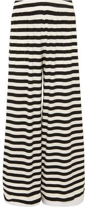 Norma Kamali Elephant Striped Wide-leg Stretch-jersey Pants - Black