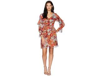 Adrianna Papell Floral Print Metallic Stripe Chiffon Ruffle Sleeve Dress