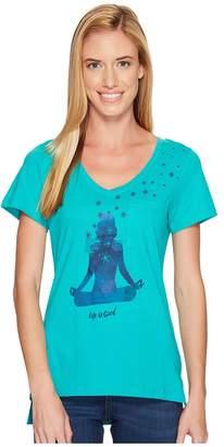 Life is Good Yoga Pose Pocket Vibe Tee Women's T Shirt