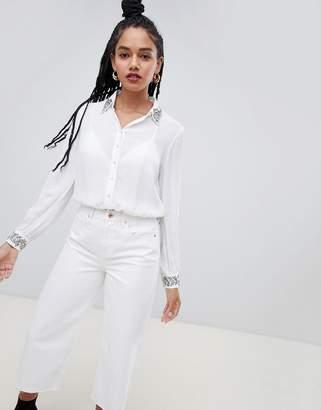 Miss Selfridge embellished collar shirt in white