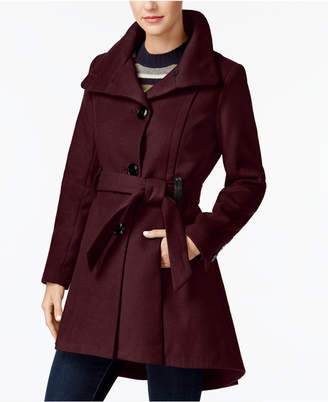Madden-Girl Juniors' Faux-Leather-Trim Skirted Coat