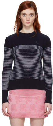ALEXACHUNG Navy and White Reverse Stripe Sweater