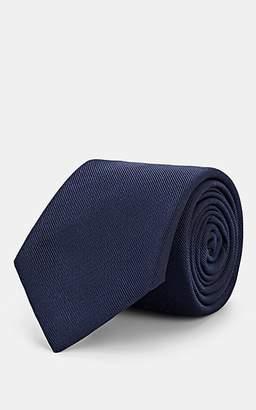 Barneys New York Men's Silk-Cotton Faille Necktie - Navy