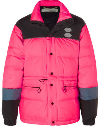 Off-White Off White Colour-Block Quilted Shell Down Jacket - Men - Pink