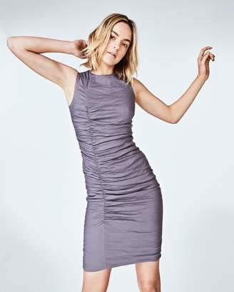Nicole Miller Solid Cotton Metal Tuck Dress