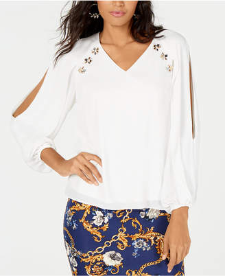 Thalia Sodi Rhinestone-Embellished Split-Sleeve Top