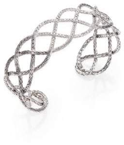 John Hardy Classic Chain Diamond & Sterling Silver Woven Braided Cuff Bracelet