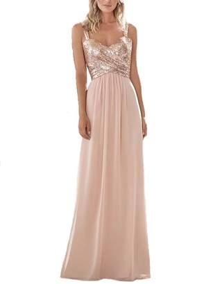 Firose Women's Sequined Sweetheart Backless Long Prom Bridesmaid Dress