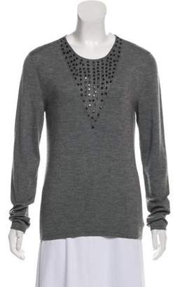 Akris Embellished Cashmere Sweater Grey Embellished Cashmere Sweater