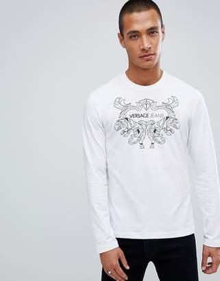 Versace long sleeve t-shirt in white with chest print