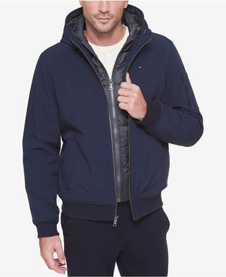 Tommy Hilfiger Men Big & Tall Hooded Soft-Shell Jacket with Inset Quilted Puffer Bib
