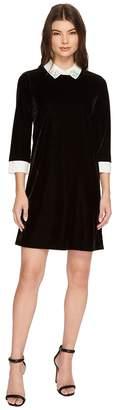 CeCe 3/4 Sleeve Embellished Collar Velvet Dress Women's Dress