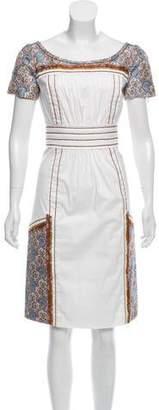 Prada Paneled Short Sleeve Dress