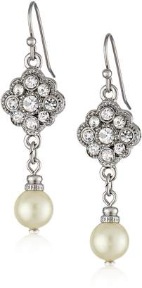 """Michael Kors 1928 Jewelry """"Bridal Crystal"""" Silver-Tone Crystal and Simulated Pearl Drop Earrings"""