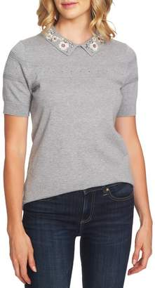 CeCe Embellished Collar Pointelle Detail Sweater