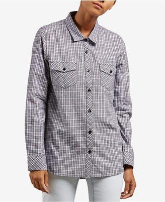 Volcom Juniors' Street Dreaming Plaid Button-Front Shirt
