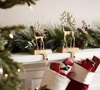 Pottery Barn Merry Reindeer Brass Stocking Holder Collection