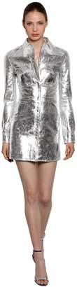 Calvin Klein Metallic Leather Mini Shirt Dress