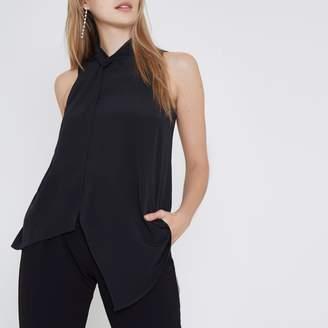 River Island Womens Black twist neck layered front sleeveless top