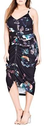 City Chic Zip Front Digital Floral Dress