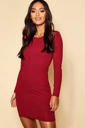 boohoo Petite Sleeve Rib Knit Bodycon Dress