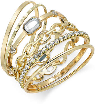 INC International Concepts I.N.C. Gold-Tone Crystal Enhanced Multi-Bangle Bracelet, Created for Macy's