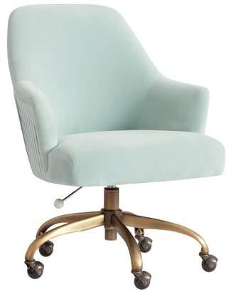 Pottery Barn Teen Pleated Desk Chair, Light Pool w/ Antique Brass Base