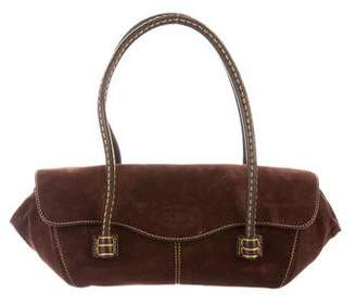 Tod's Leather-Trimmed Suede Bag