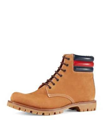 Gucci Marland Suede Hiking Boot w/Web Detail $830 thestylecure.com