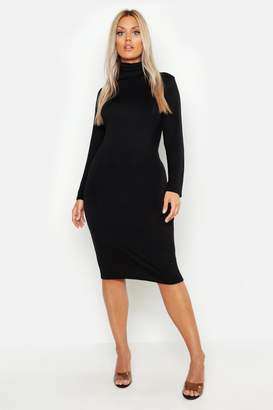 2373bdeda5 boohoo Plus Long Sleeve Roll Neck Midi Dress