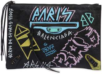 Balenciaga Classic Graffiti Leather Pouch