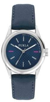 Furla Eva Stainless Steel Leather-Strap Watch