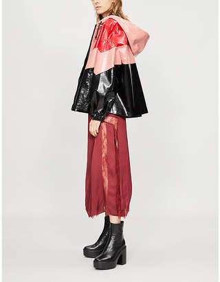 MSGM Contrast-panel patent faux-leather jacket
