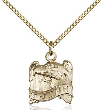 St. John Bonyak Jewelry Saint Medal Collection Gold Filled Pendant 5/8 x 1/2 inches with Gold Filled Lite Curb Chain