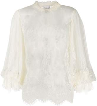 Edward Achour Paris embroidered sheer blouse