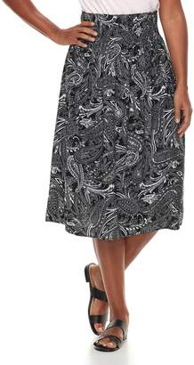 Croft & Barrow Women's Smocked Challis Midi Skirt