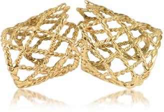 Bernard Delettrez Gold Articulated Basket Weave Ring