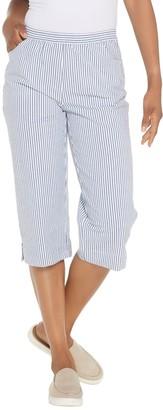 Factory Quacker Pull-On Seersucker Capri Pants with Pockets