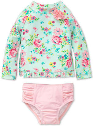 Little Me 2-Pc. Floral-Print Rash Guard, Baby Girls
