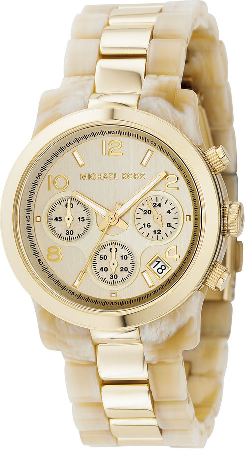 Michael Kors  Two-Tone Jet Set Watch, Horn/Gold